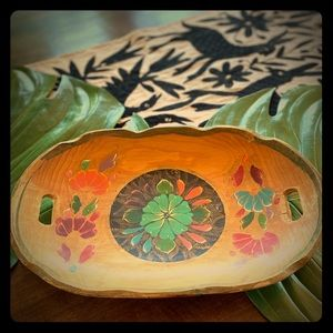 Vintage Mexican Hand painted Floral Wooden Tray
